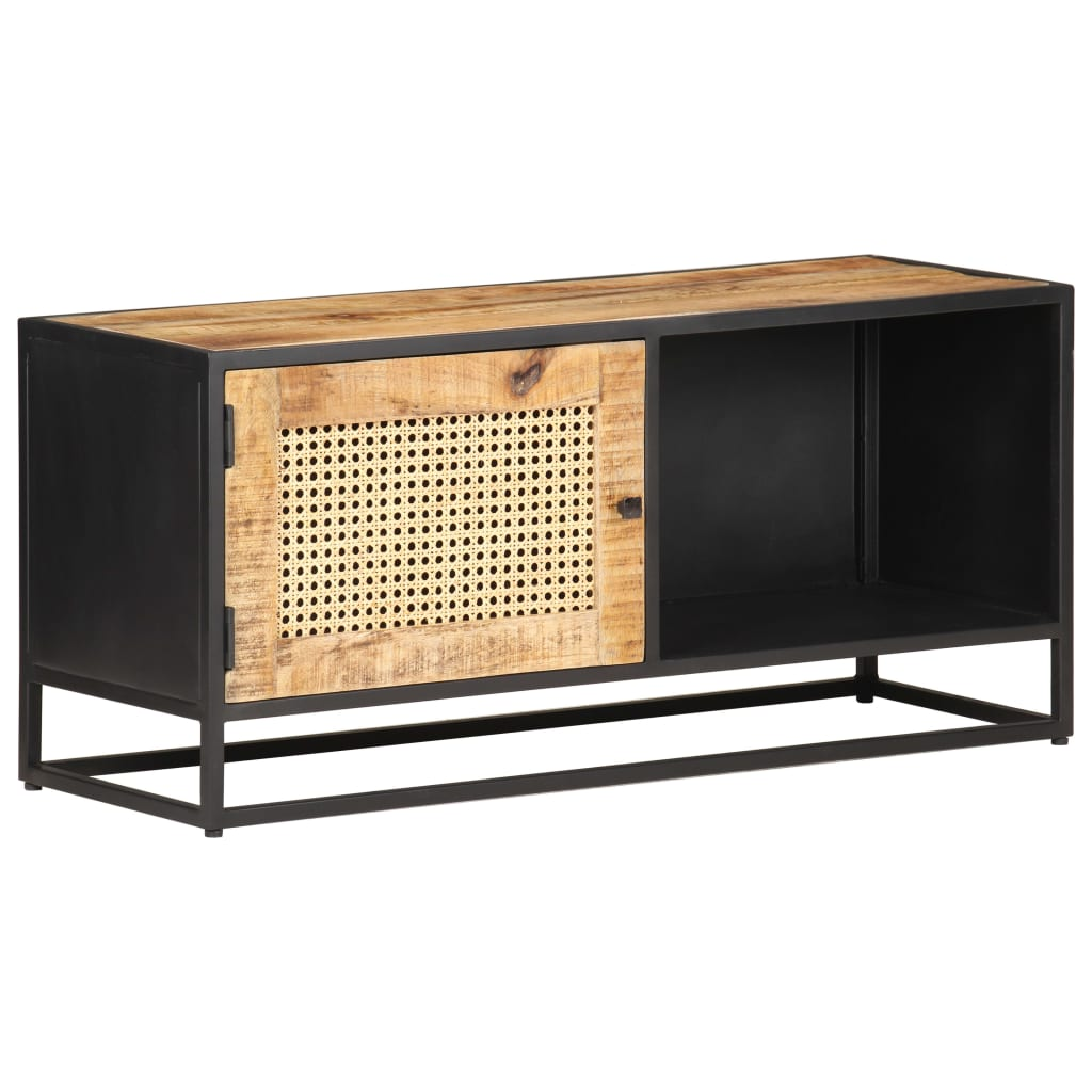 Talia Mango Wood Natural Cane 1-Door TV Unit