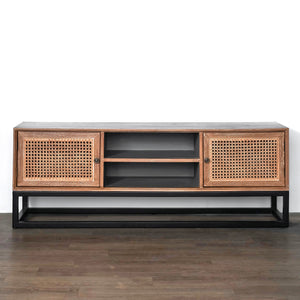 Santiago Mahogany Wood Rattan TV Unit | Exclusive