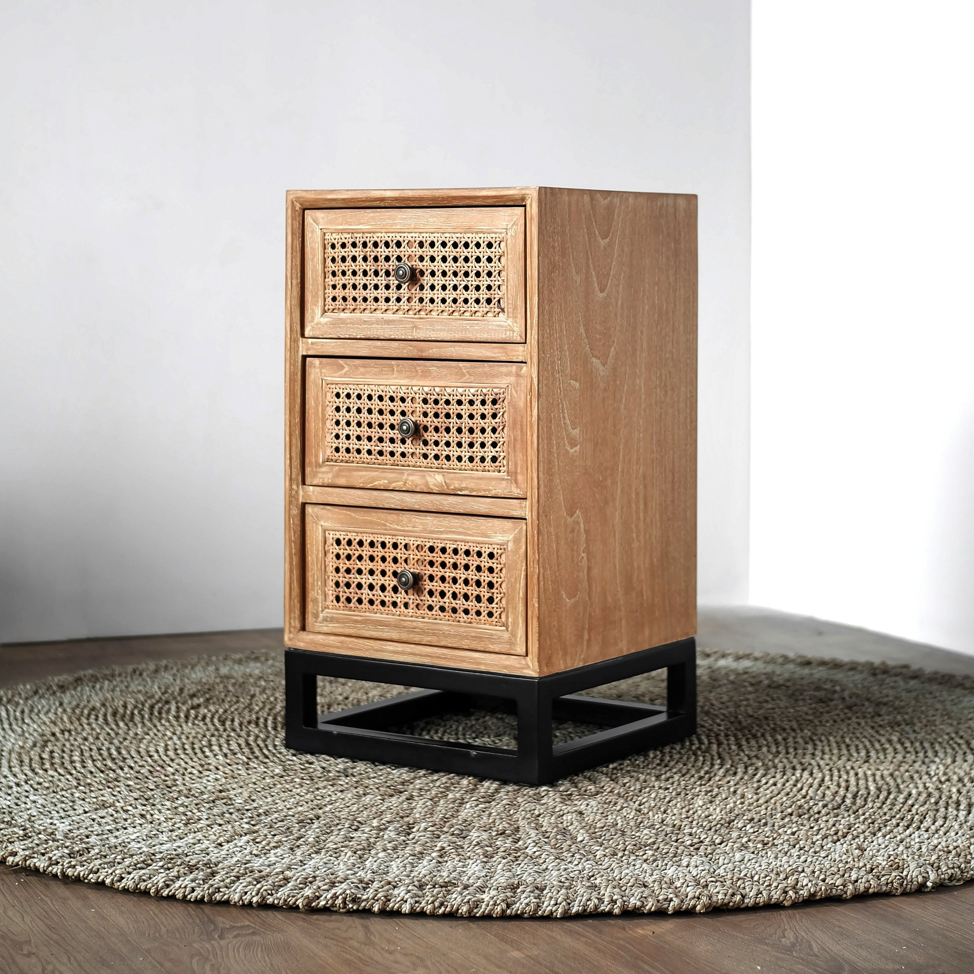 Santiago Mahogany Wood Rattan Bedside Table | Exclusive