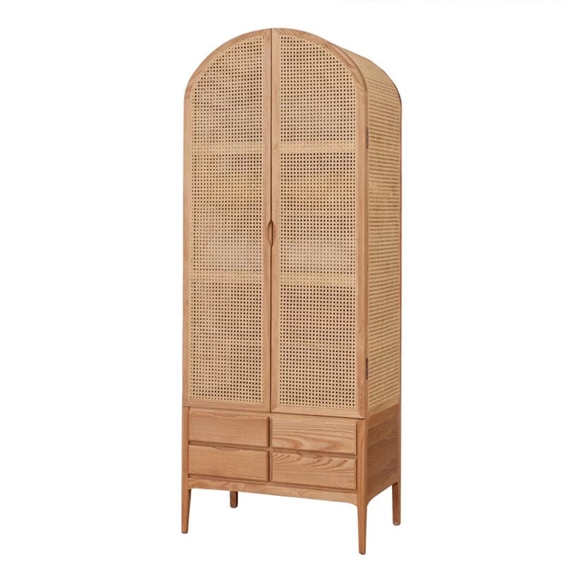 Bhumi Rattan Teak Wood Wardrobe (Made To Order)