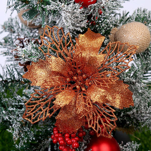 Glitter Christmas Artificial Flowers (7 Colours)