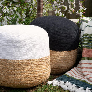 Sonia Jute Ottoman (Natural/White)