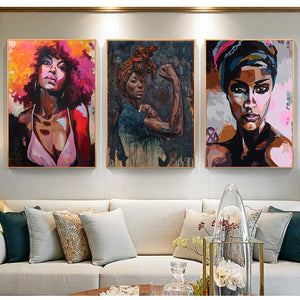 Abstract Woman Painting Unframed Canvas Wall Art