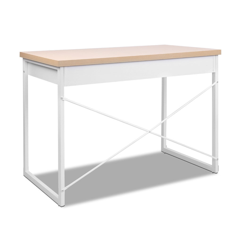 Metal Desk with Drawer White Desk with Wooden Top Minimalist White Desk White Office Desk Minimalist Office Desk Australia