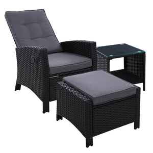 Black Outdoor Patio Furniture Recliner Chairs Table Setting Wicker Lounge Outdoor Recliner Chair Outdoor Table Outdoor Furniture Australia