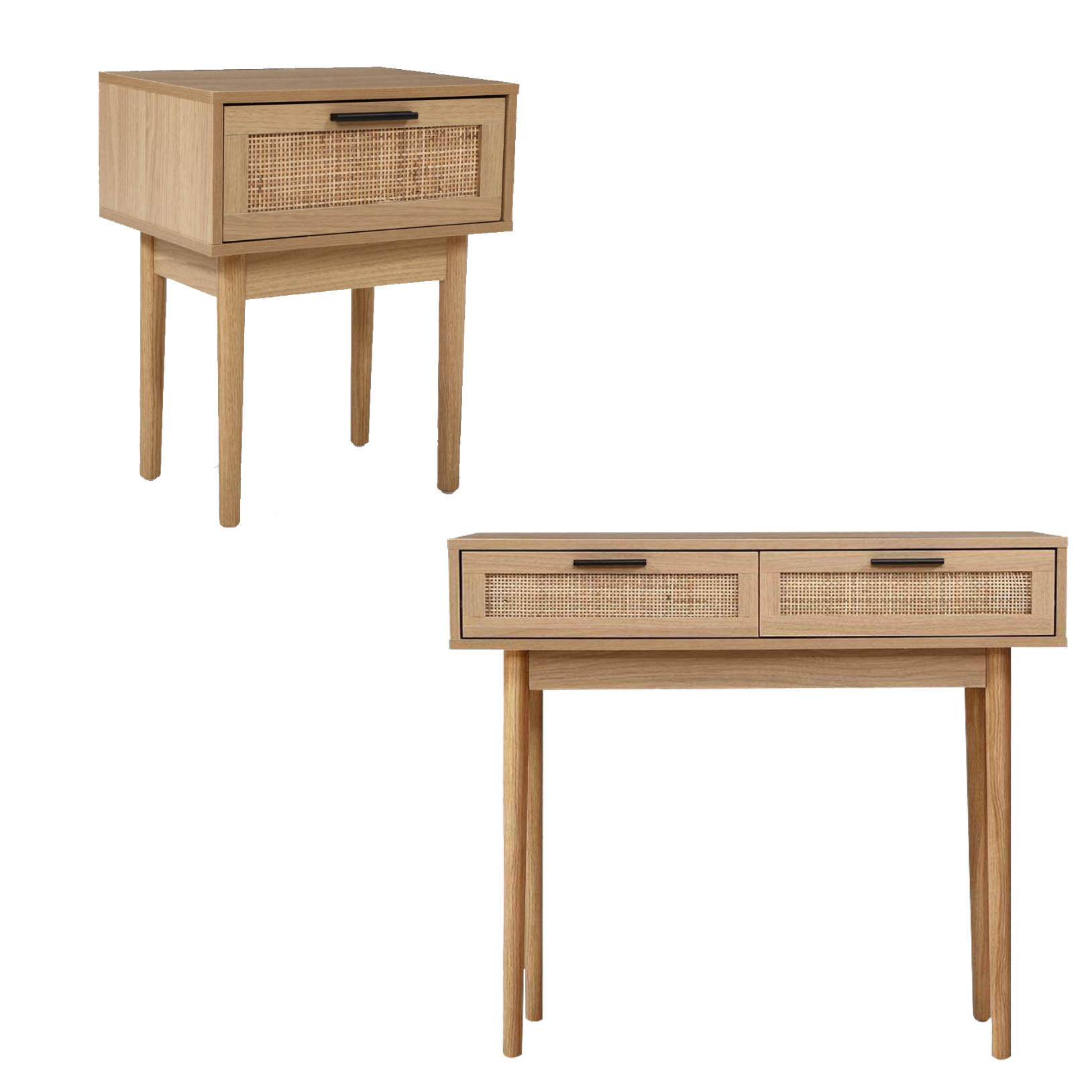Rattan Console Table & Side Table Package
