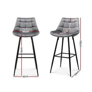 Gilbert Bar Stools (Velvet Grey - Set of 2)