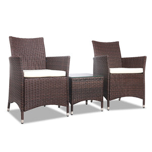 Cairenn Outdoor Chair & Side Table Set (Brown)