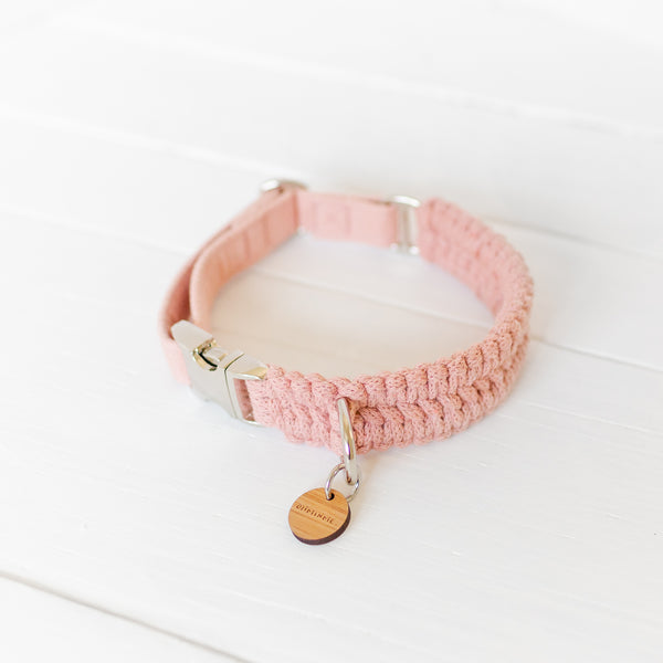 Hygge Macramé Dog Collar - Vintage Rose