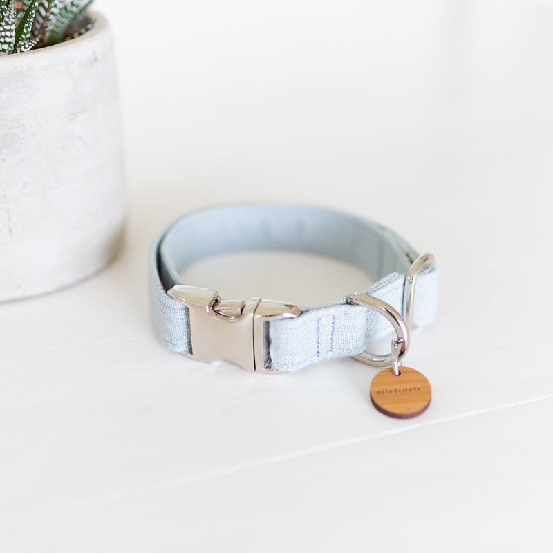 Pastel blue dog collar in linen with silver hardware