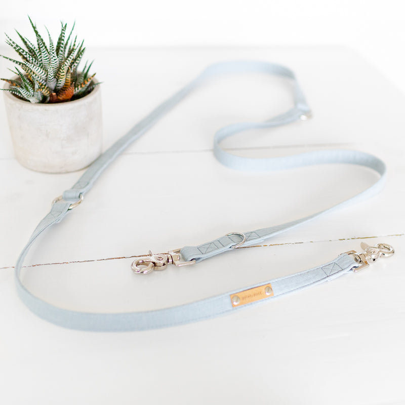 Convertible dog leash in blue on a wooden hanger