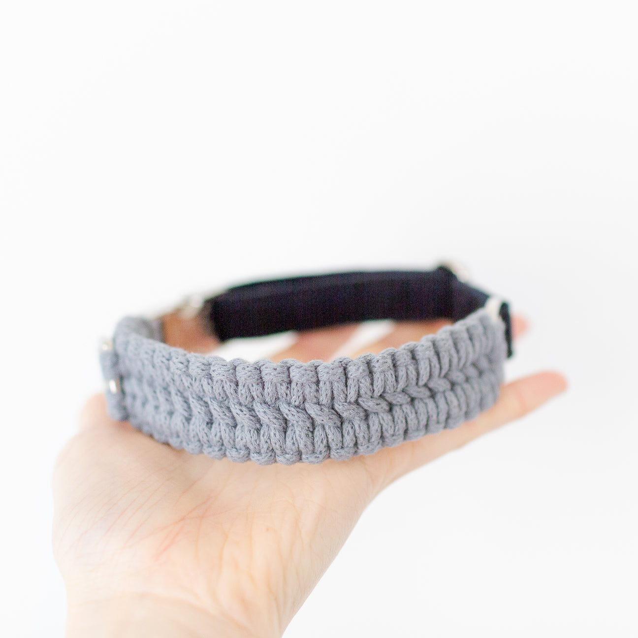 Blue grey macrame recycled cotton dog collar