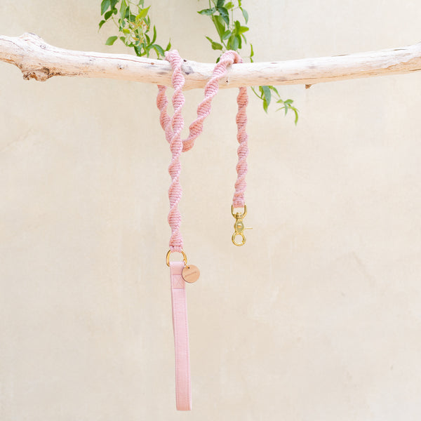 Malibu Twisted Macramé Dog Leash - Vintage Rose