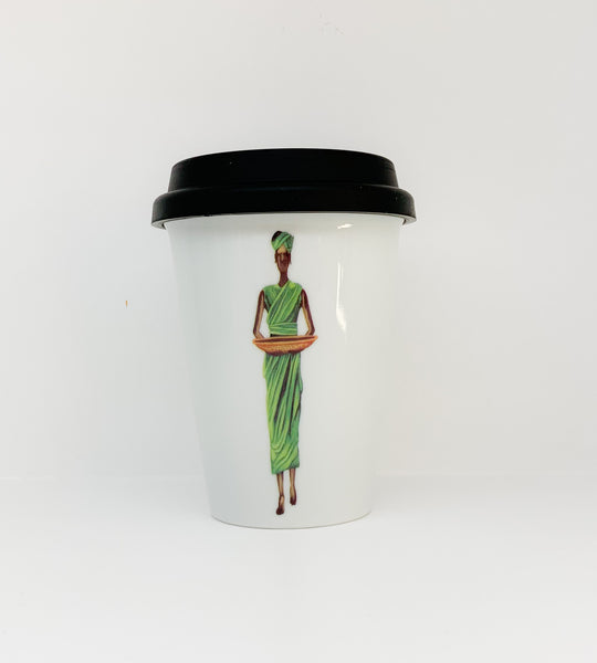 Travel mug one wall Africans Green