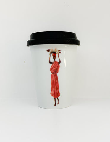 Travel mug one wall Africans Red