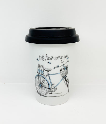 Travel mug one wall Blue Bike