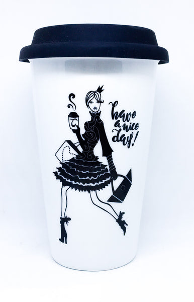 Travel mug Double wall Fashion girl