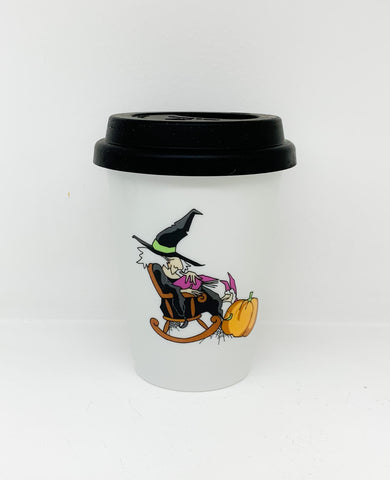 Travel mug one wall Halloween Witche design2