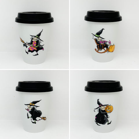 Travel mug one wall Halloween Witches set of 4