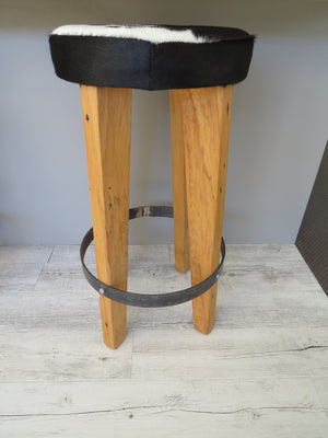 Cowhide Round Barstool