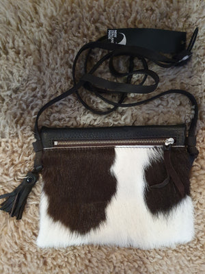 Cowhide On The Go Bag - Black/White