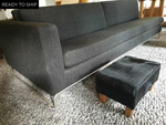 All Black Straight Leg Footstool