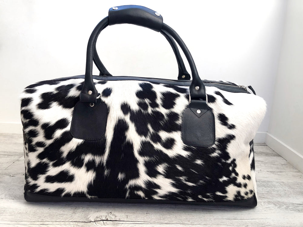 Cowhide Travel Bag - Black/White Salt & Pepper