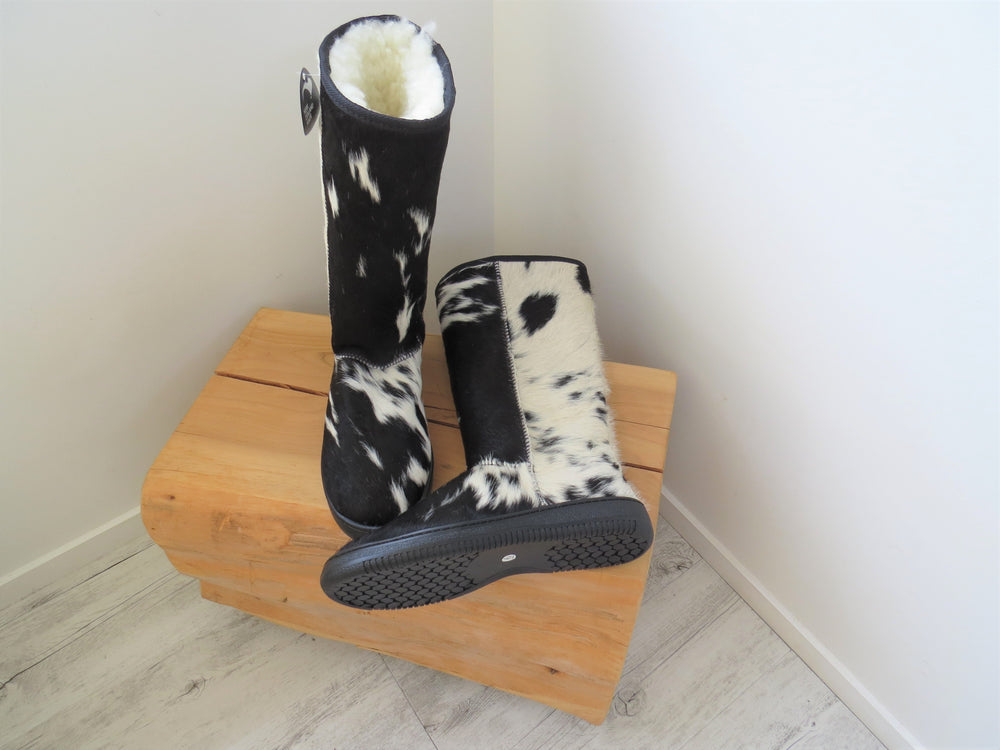 Load image into Gallery viewer, Calfskin Tall Boot - Black & White