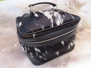 Cowhide toiletry bag - black + white