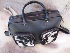 Laptop Bag - black and white cowhide