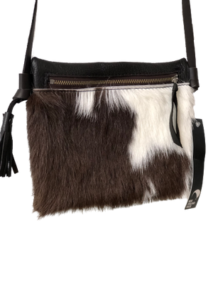 Cowhide On The Go Bag - Brown/White