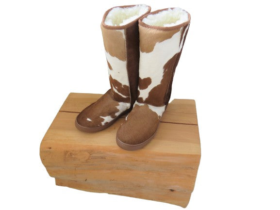 Calfskin Tall Boot - Tan & White