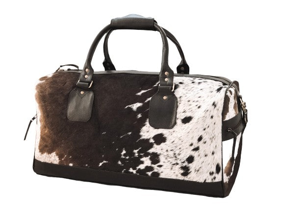 Cowhide Travel Bag - Dark Brown/White + Salt & Pepper