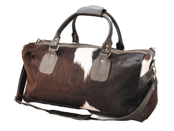 Cowhide Travel Bag - Dark Brown/White Bold
