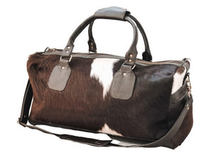 Load image into Gallery viewer, Cowhide Travel Bag - Dark Brown/White Bold