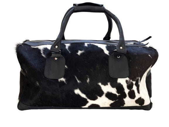 Cowhide Travel Bag - Black/White Bold
