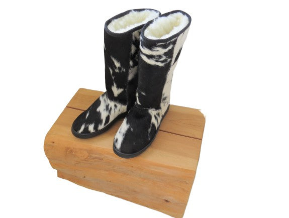 Calfskin Tall Boot - Black & White