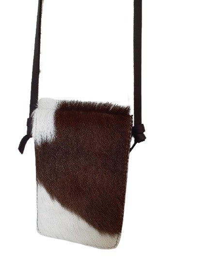 Mobile Phone Swing Bag - Brown/White