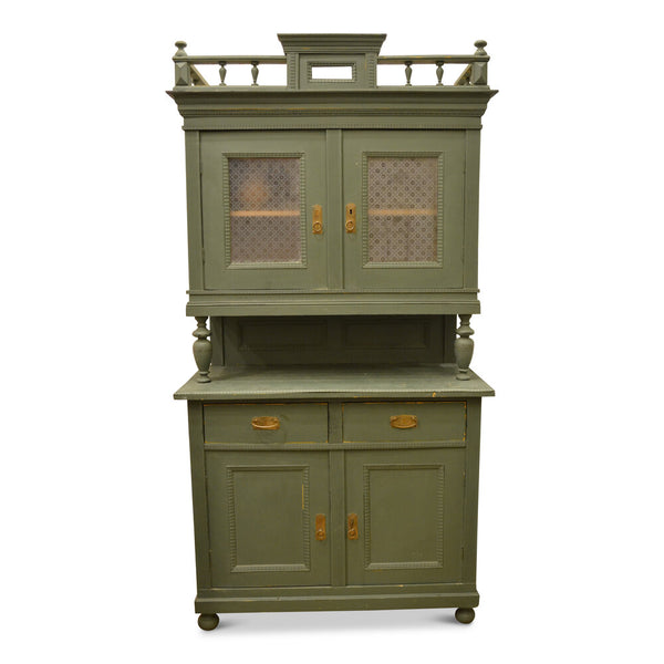 Vintage Green Hutch With Decorative Cornice