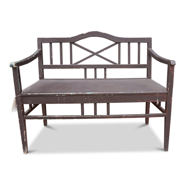 Vintage European Brown Painted Bench