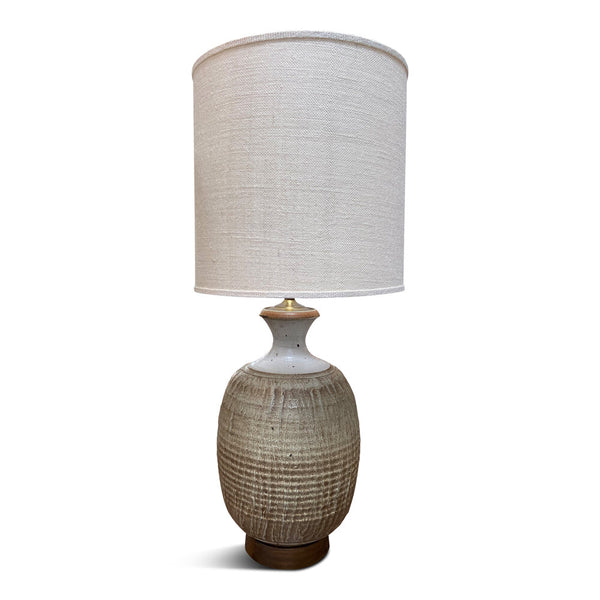 "Vintage Hand-Thrown Ceramic Lamp Overall Height: 38.5""H  Base: 11""Di x 22""H  Shade: 16"" x 16"""