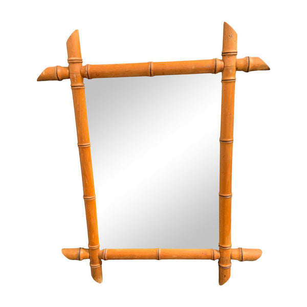 Vintage French Bamboo Mirror Small