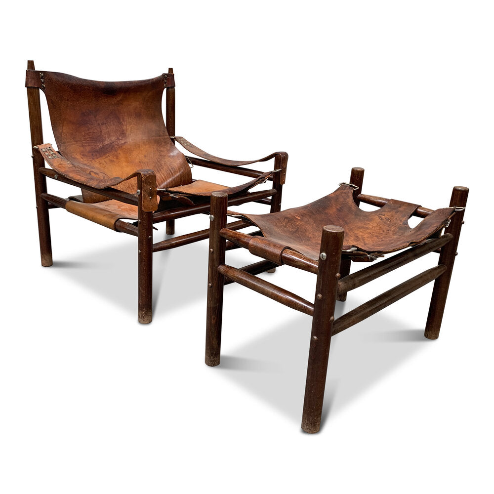 Leather Safari Chair and Ottoman