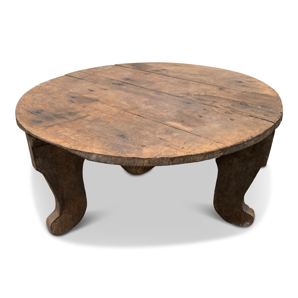 "Low Round Farmhouse Table No.98 27"" D x 13"" H"