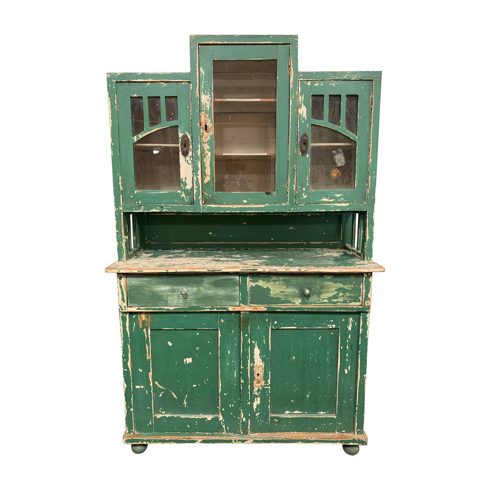 Vintage Green Wood Kitchen Cabinet
