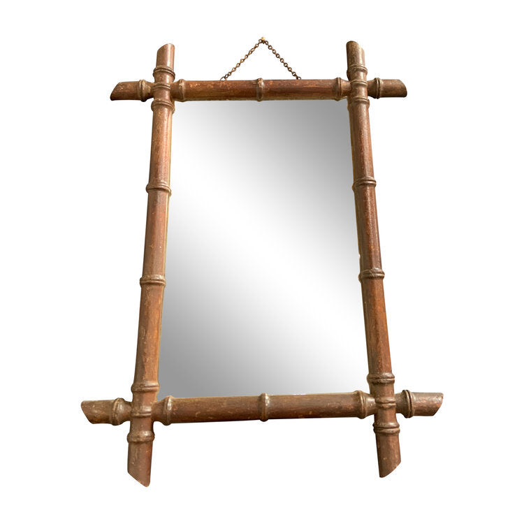Vintage French Bamboo Mirror Large