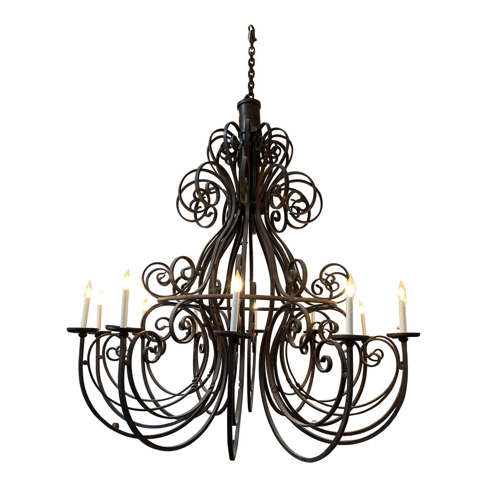 "Vintage Hand Forged Iron Chandelier 70""W x 75""H"