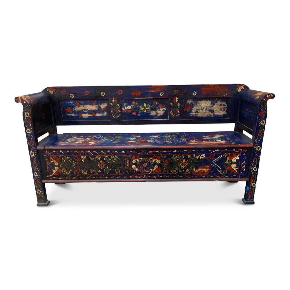 Painted Vintage European Bench
