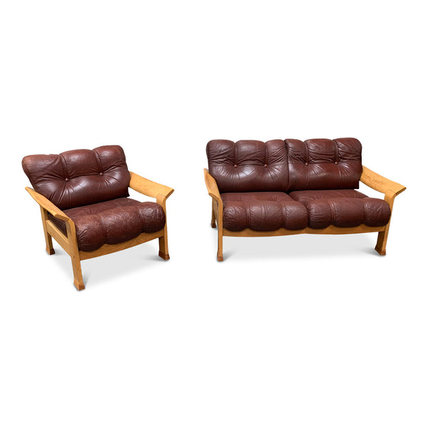 Vintage Leather and Wood Chair and Loveseat