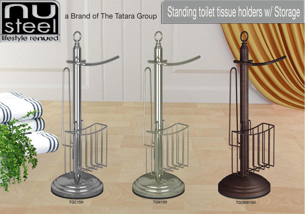 STANDING TOILET TISSUE HOLDERS W/ STORAGE - Nusteel